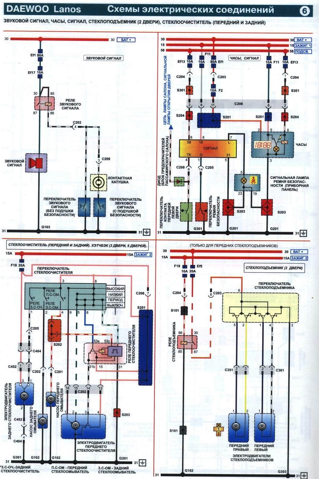Электрические схемы автомобиля дэу ланос.